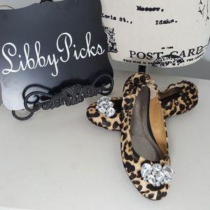 Adrienne Maloof leopard leather flats sz 9.5